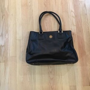 Tory Burch large black Robinson tote